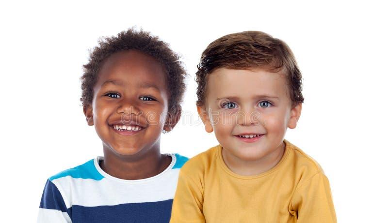 Het grappige kinderen lachen royalty-vrije stock fotografie
