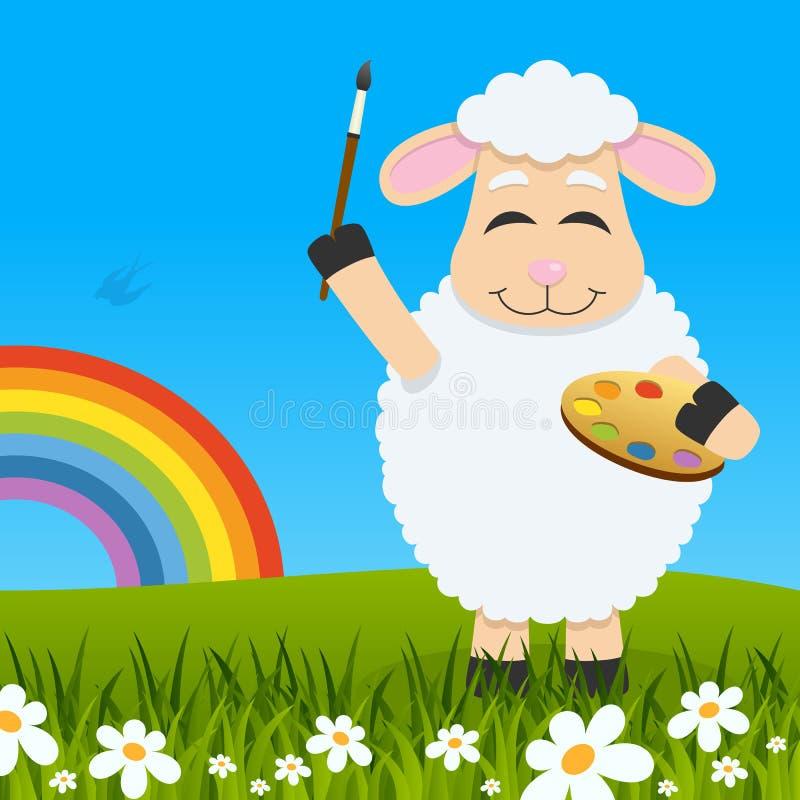 Het Grappige Lam van Pasen met Palet & Regenboog vector illustratie