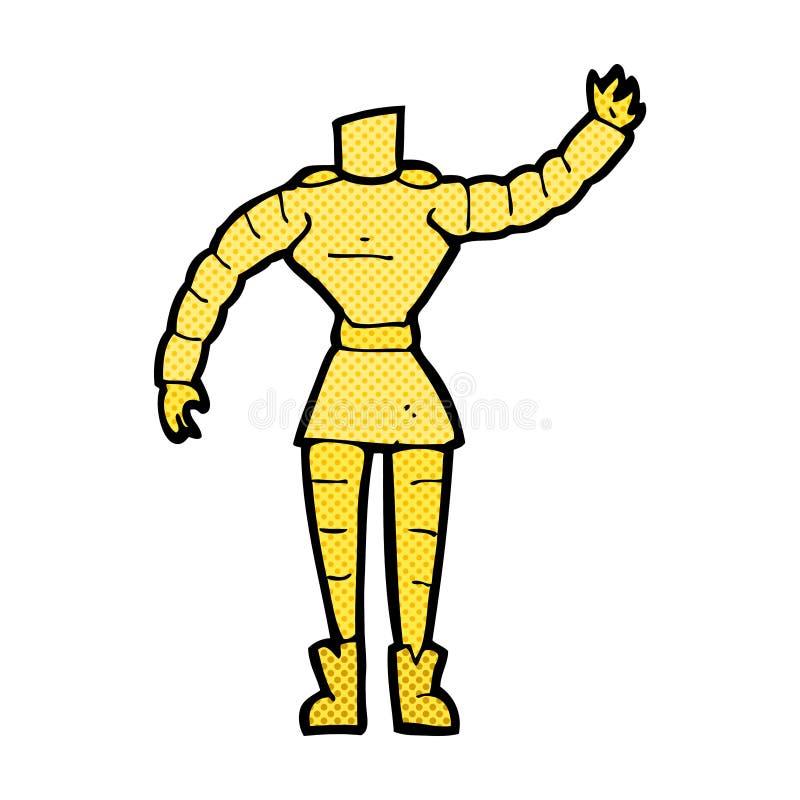 het grappige lichaam van de beeldverhaal vrouwelijke robot (mengeling en gelijke grappige beeldverhalen o stock illustratie