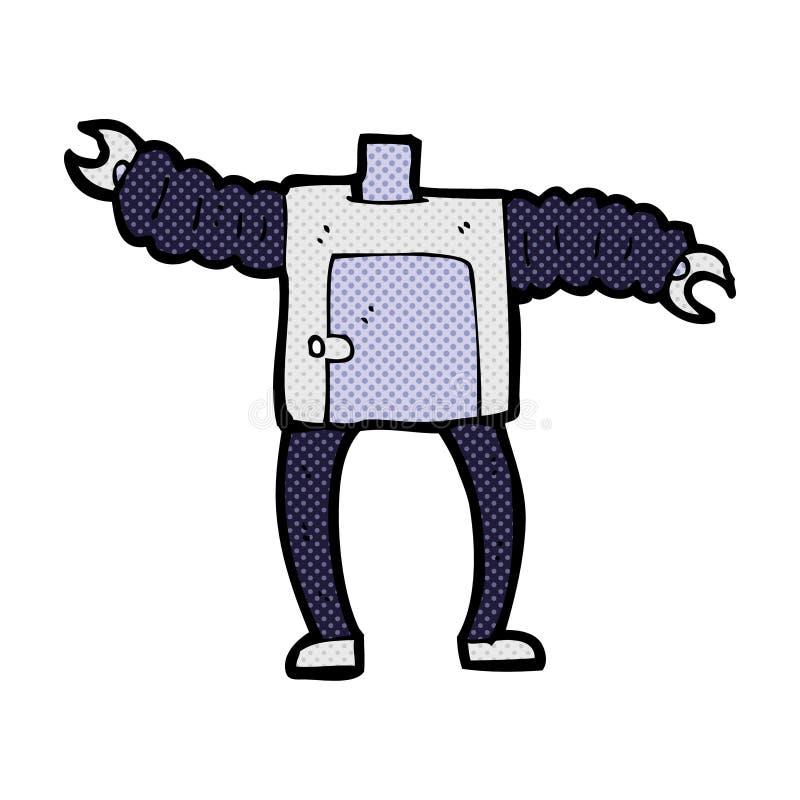 het grappige lichaam van de beeldverhaalrobot (mengeling en gelijke voegen de grappige beeldverhalen of ow toe stock illustratie