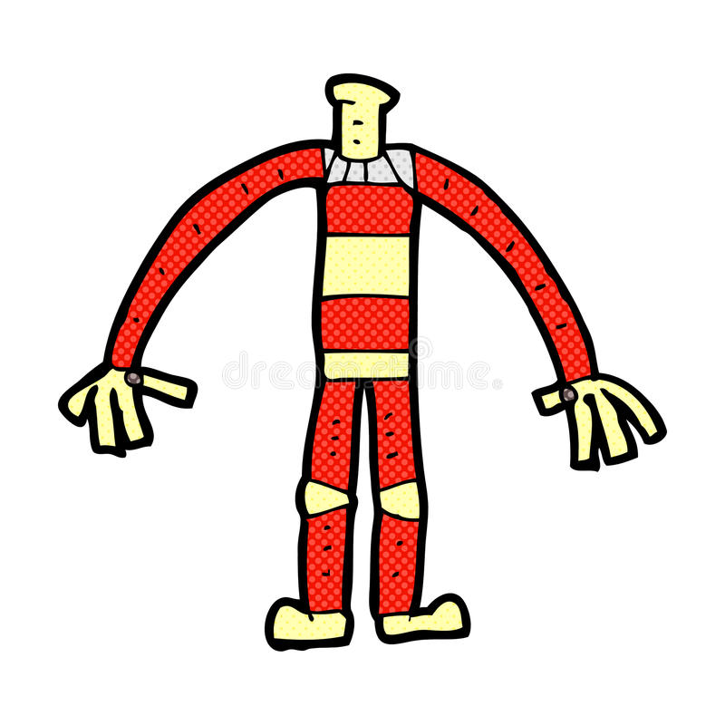 het grappige lichaam van de beeldverhaalrobot (mengeling en gelijke voegen de grappige beeldverhalen of ow toe vector illustratie