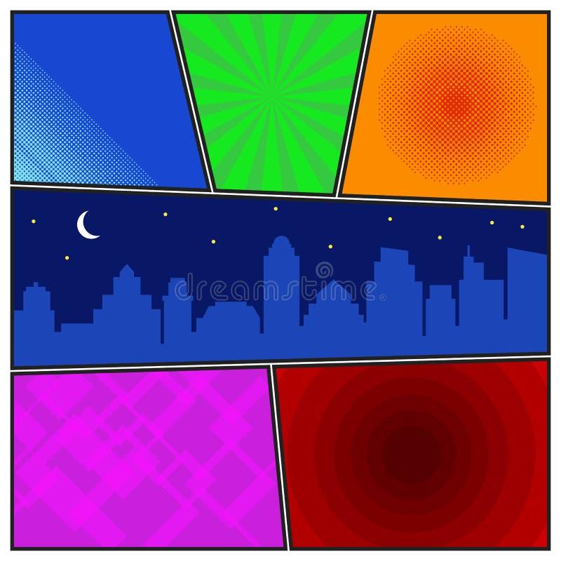 Het grappige malplaatje van de boekpagina met radiale achtergronden en nachtstad vector illustratie