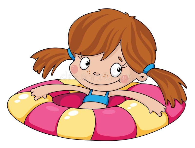Het grappige meisje van de zwemmer royalty-vrije illustratie