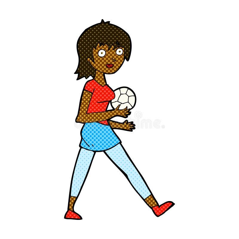 het grappige meisje van het beeldverhaalvoetbal royalty-vrije illustratie