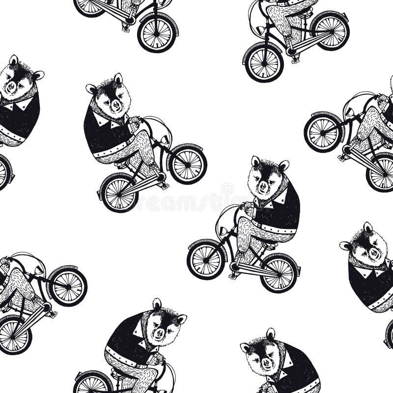 Het grappige naadloze patroon met leuk bruin beeldverhaal draagt gekleed in donkere overhemds berijdende fiets op witte achtergro stock illustratie