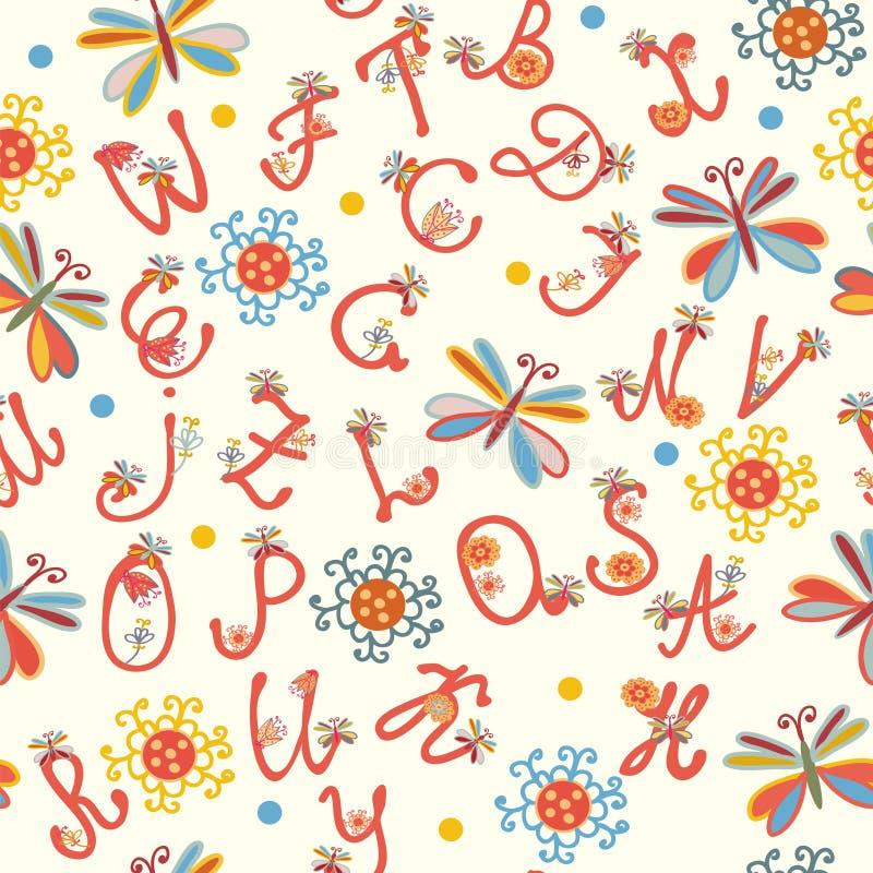 Het grappige naadloze patroon van het alfabet royalty-vrije illustratie