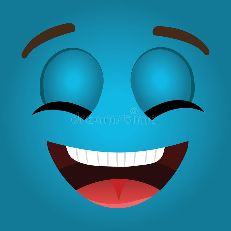Het grappige ontwerp van het emoticonbeeldverhaal vector illustratie