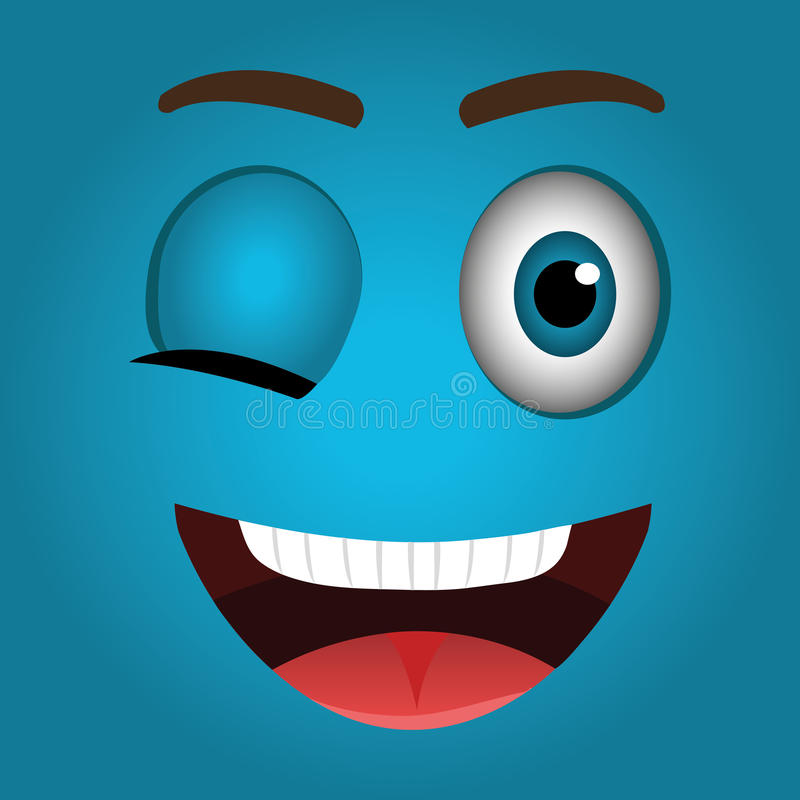 Het grappige ontwerp van het emoticonbeeldverhaal stock illustratie