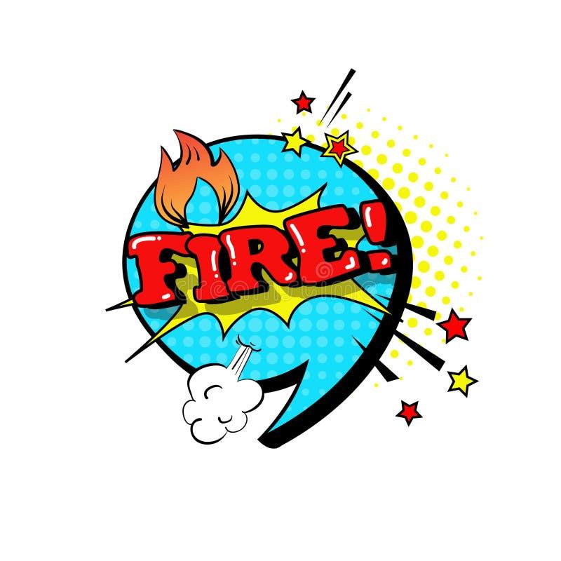 Het grappige Pictogram van de Bellen Pop Art Style Fire Expression Text van het Toespraakpraatje royalty-vrije illustratie