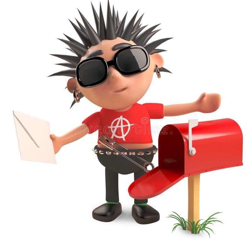 Het grappige punkerkarakter heeft brieven in zijn brievenbus, 3d illustratie royalty-vrije illustratie
