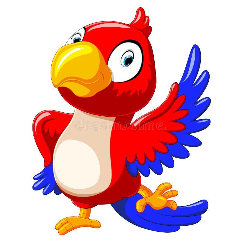 Het grappige rode papegaaibeeldverhaal dansen vector illustratie