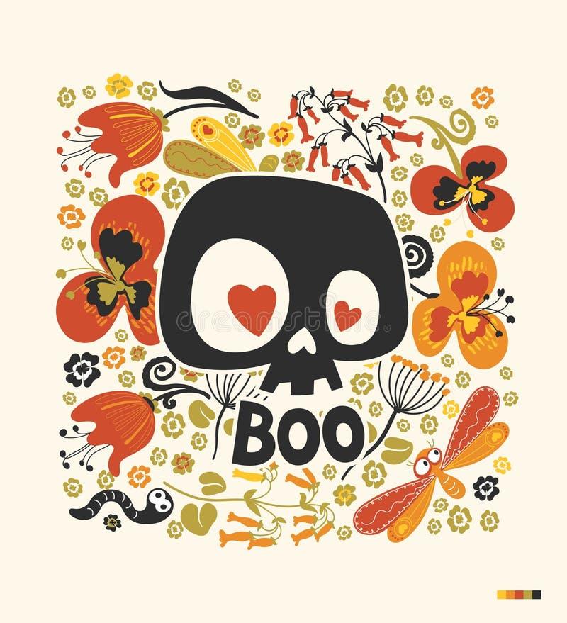 Het grappige silhouet van de beeldverhaal menselijke schedel met hartogen en woord` Boe-geroep ` dat door kleurrijke bloemeninsec royalty-vrije illustratie