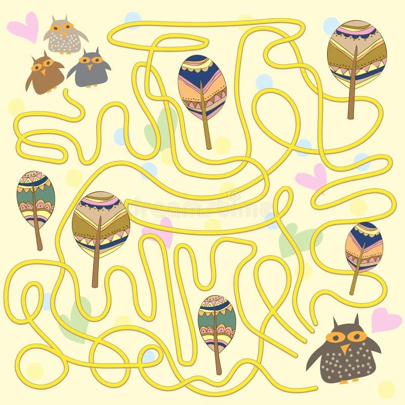 Het grappige spel van het uilenlabyrint voor Kinderen royalty-vrije illustratie