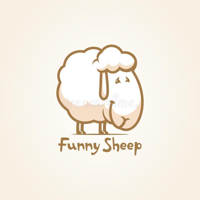 Het grappige van het het karakteroverzicht van het schapenbeeldverhaal vectorpictogram stock illustratie