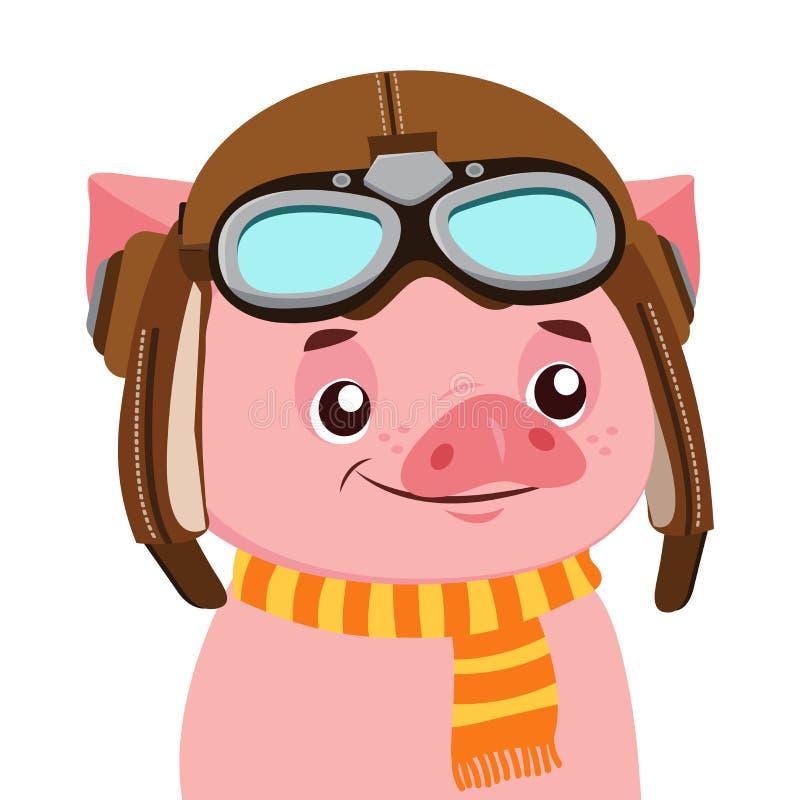 Het grappige Vectorkarakter van het Beeldverhaalvarken Portret van Piggy met Helm vector illustratie