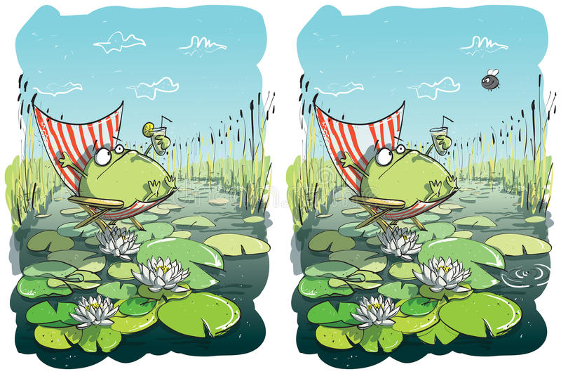 Het grappige Visuele Spel van de Verschillen van de Kikker stock illustratie