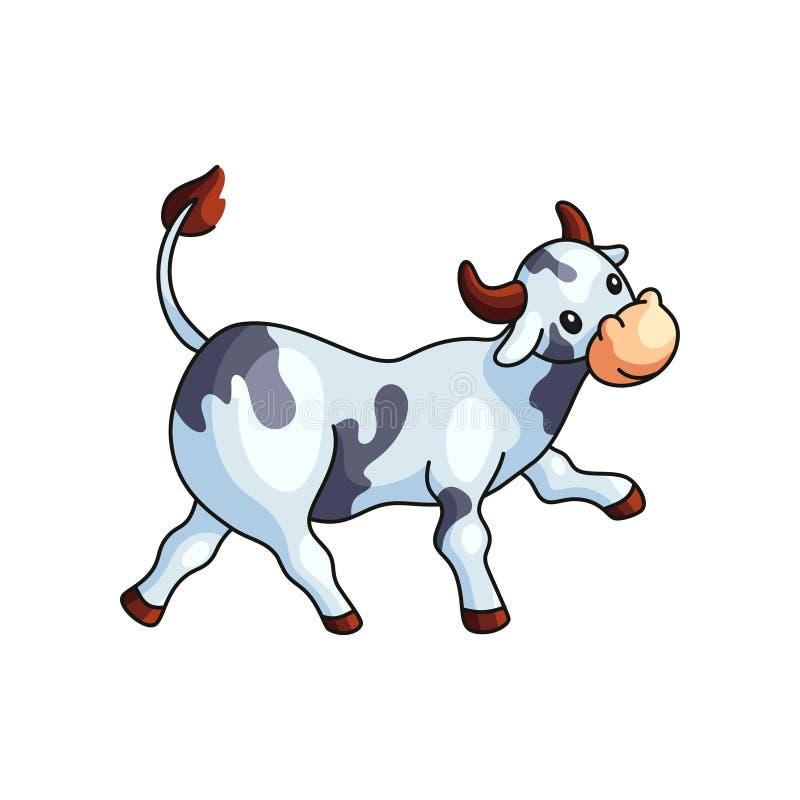Het grappige zwart-witte bevlekte koe rechtstreeks geïsoleerd gaan vector illustratie