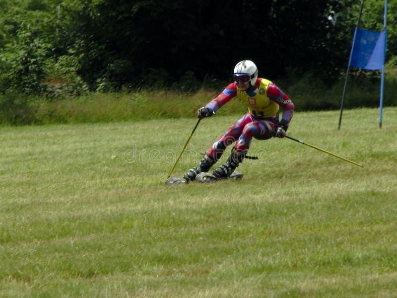 Het gras dat van WC - Cenkovice skiô royalty-vrije stock fotografie