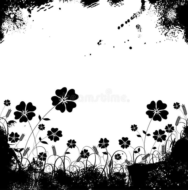 Het gras en de bloemvector van Grunge royalty-vrije illustratie