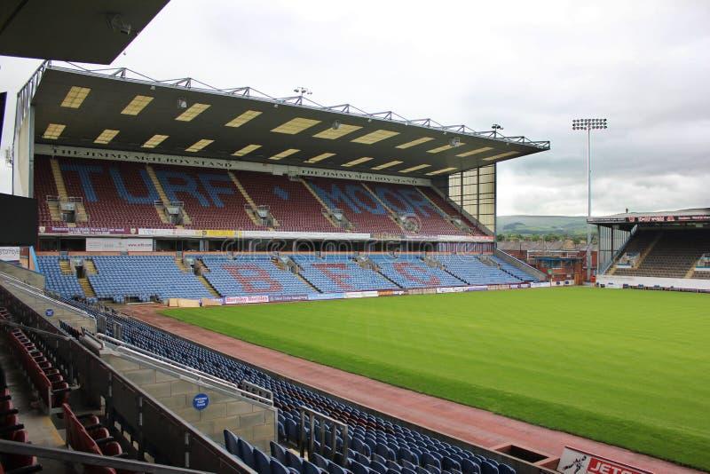 Het gras legt Voetbalgrond, Burnley het UK vast royalty-vrije stock afbeeldingen