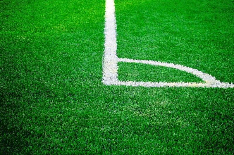 Het grasgebied van de voetbalvoetbal stock afbeeldingen