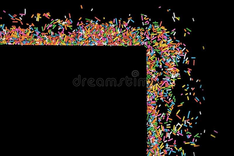 Het grenskader van kleurrijk bestrooit op een zwarte achtergrond met mede stock afbeelding