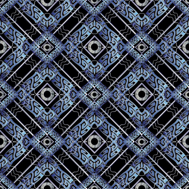 Het Grieks kronkelt naadloos patroon Vector geometrische betegelde backgrou vector illustratie