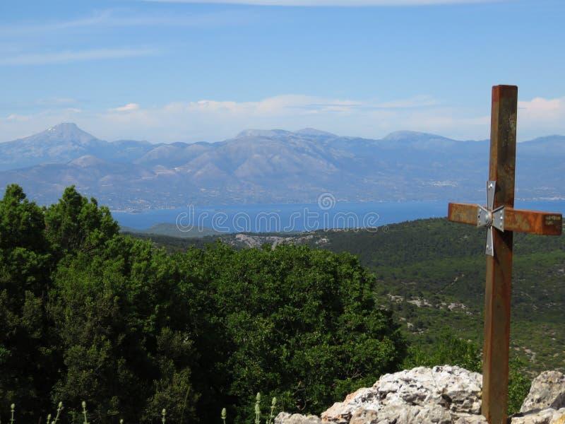 Het Griekse Eiland Evvoia van onderstel Prnitha, Griekenland royalty-vrije stock foto's