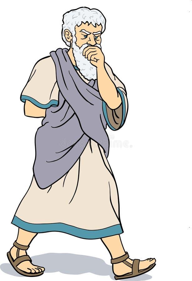 Het Griekse filosoof denken stock illustratie