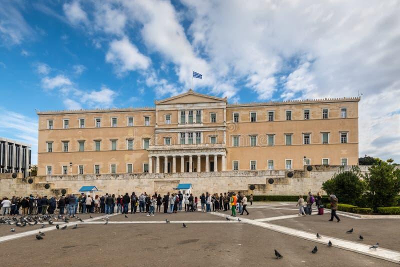 Het Griekse Parlement in Athene, Griekenland stock afbeeldingen