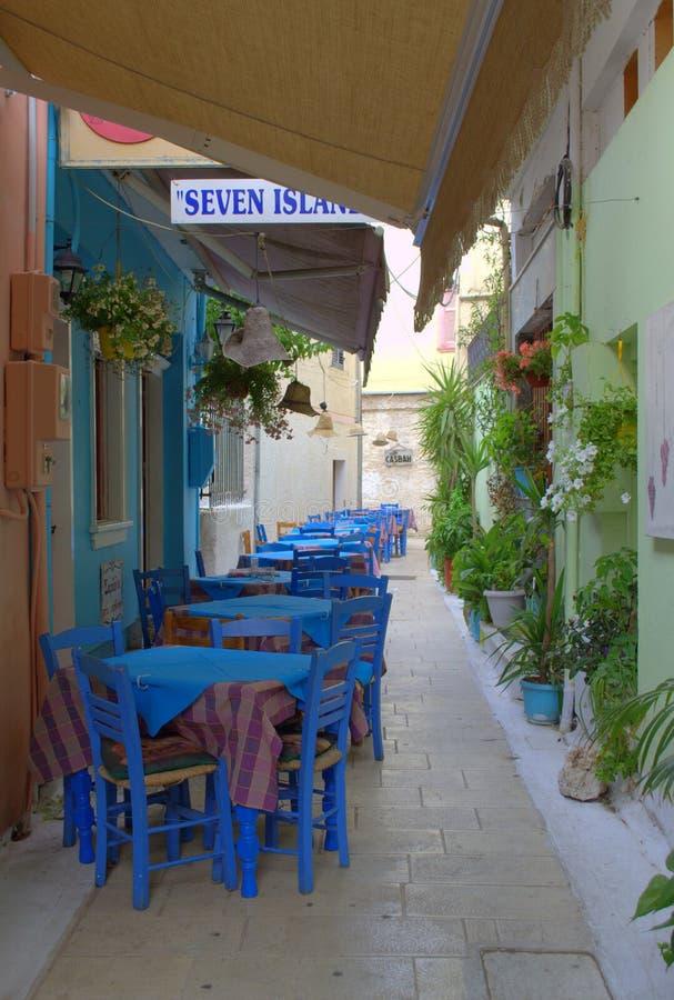 Het Griekse restaurant van de stoepkoffie, Lefkada, Griekenland royalty-vrije stock foto's