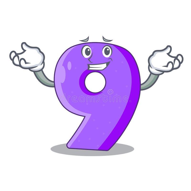 Het grijnzen nummer negen atletiek het gestalte gegeven karakter vector illustratie