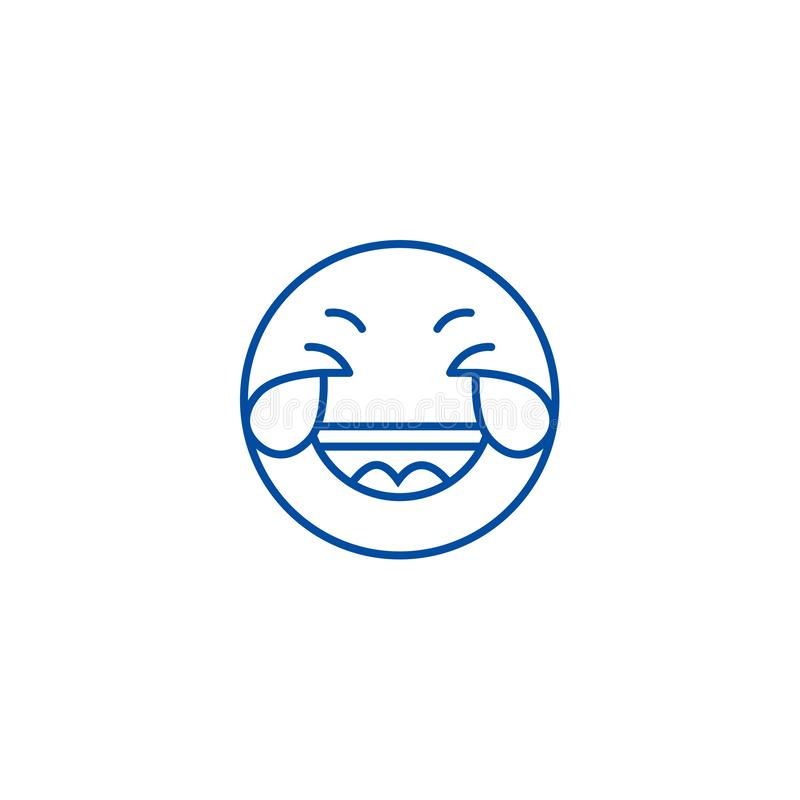 Het grijnzen van de het gezichtslijn van het emojiverstand h het pictogramconcept Het grijnzen het gezichts vlak vectorsymbool va vector illustratie