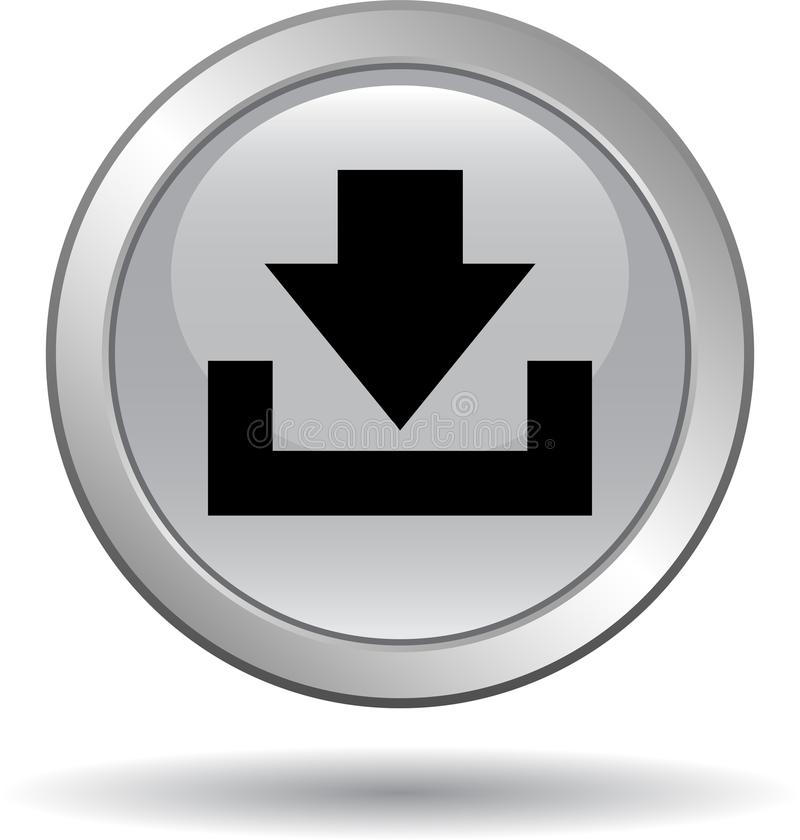 Het grijs van het het Webpictogram van de downloadknoop royalty-vrije illustratie