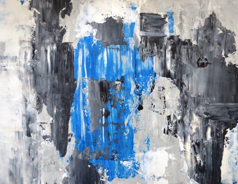 Het grijze en Blauwe Abstracte Schilderen van de Kunst royalty-vrije stock fotografie
