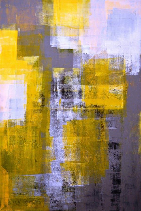 Het grijze en Gele Abstracte Schilderen van de Kunst royalty-vrije stock fotografie