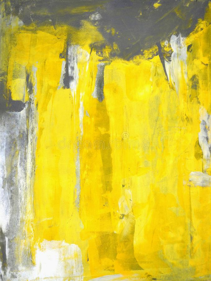 Het grijze en Gele Abstracte Schilderen van de Kunst royalty-vrije stock afbeeldingen