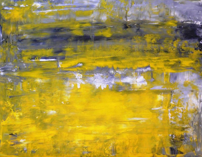 Het grijze en Gele Abstracte Schilderen van de Kunst stock foto's