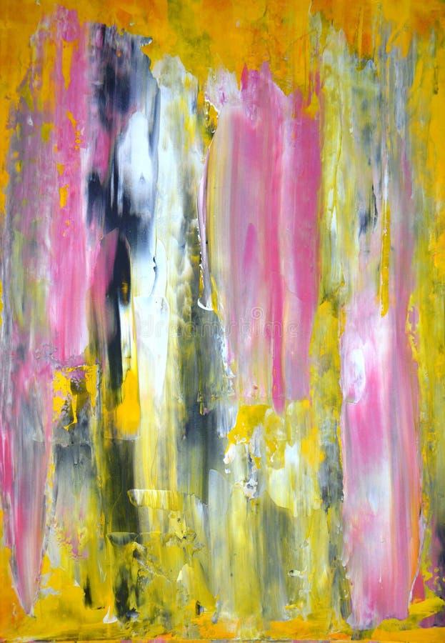 Het grijze en Gele Abstracte Schilderen van de Kunst stock foto