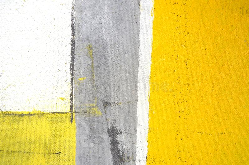 Het grijze en Gele Abstracte Schilderen van de Kunst stock afbeelding