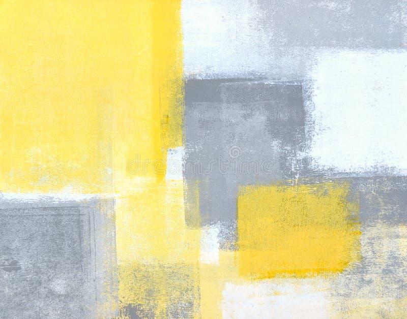 Het grijze en Gele Abstracte Schilderen van de Kunst royalty-vrije stock afbeelding