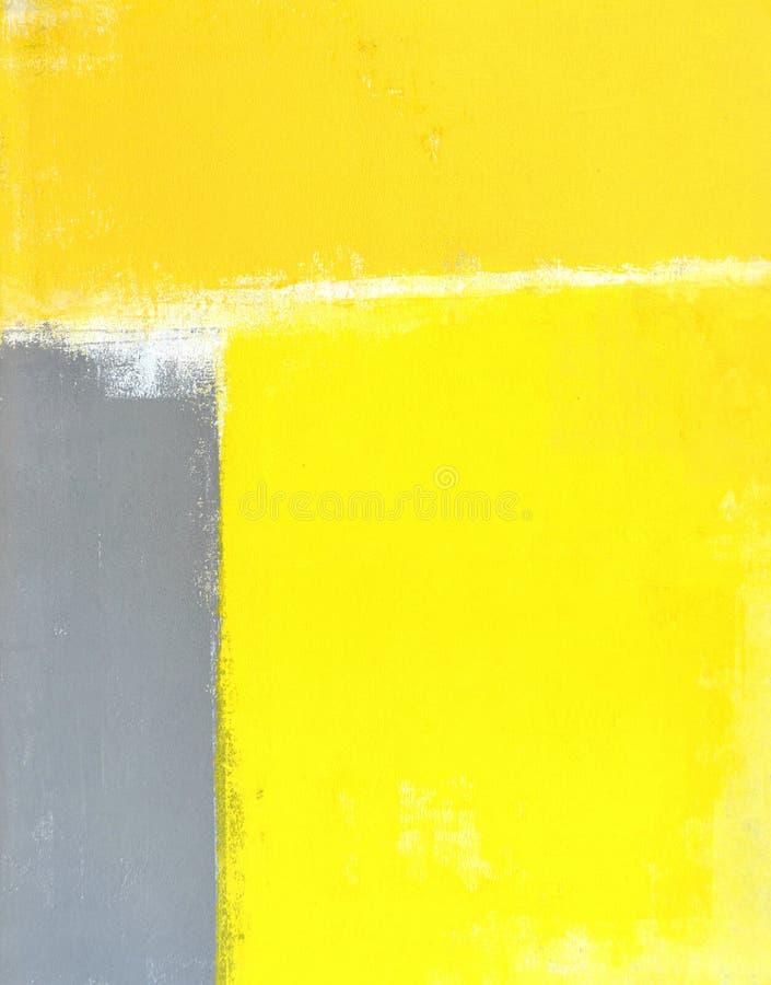 Het grijze en Gele Abstracte Schilderen van de Kunst stock fotografie