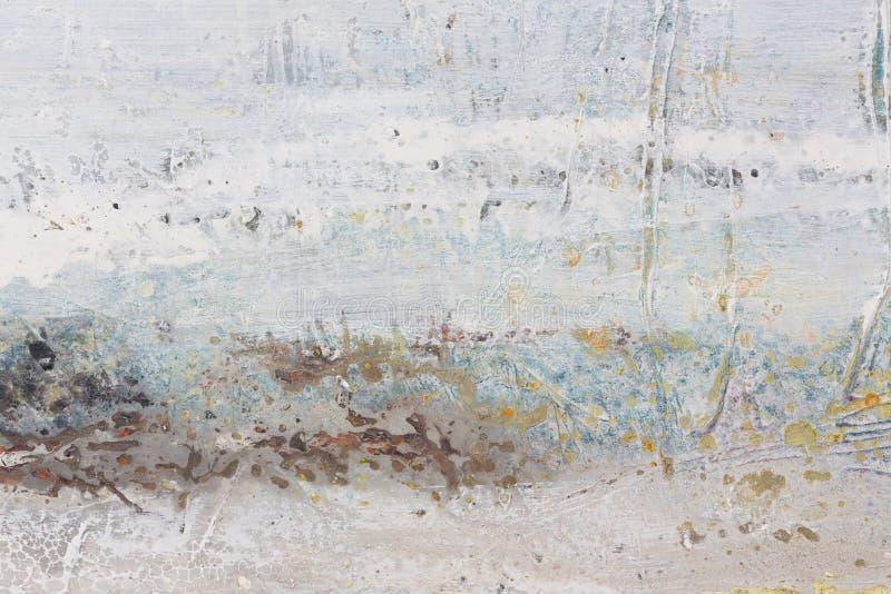 Het grijze en Gele Abstracte Schilderen van de Kunst Regenachtige Achtergrond stock afbeeldingen