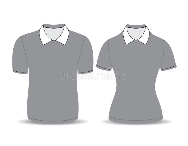 Het grijze overzicht van het polooverhemd stock illustratie