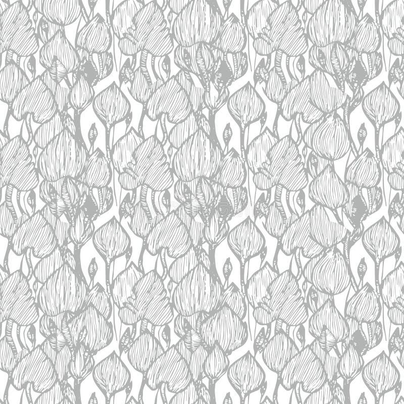 Het grijze patroon van de Monsteraabstractie stock illustratie