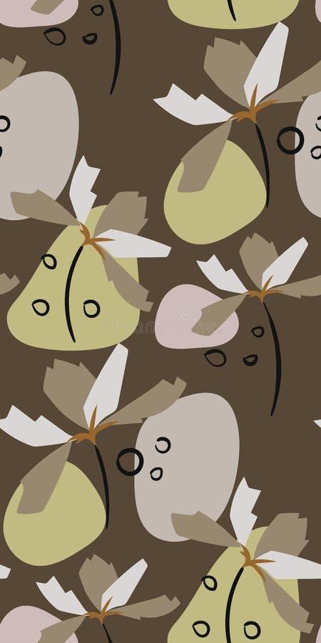 Het grijze vector bloemenontwerp primitieve Skandinaviër van het tulpen naadloze patroon vector illustratie