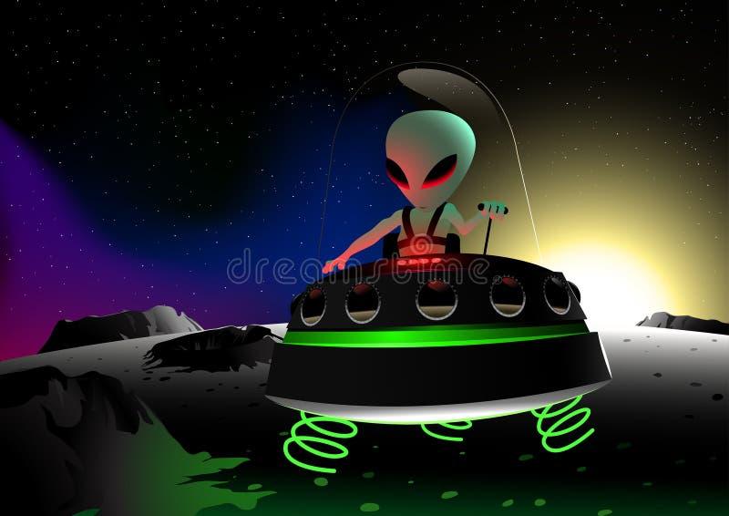Het grijze vreemde vliegen op maanoppervlakte in een UFO stock illustratie