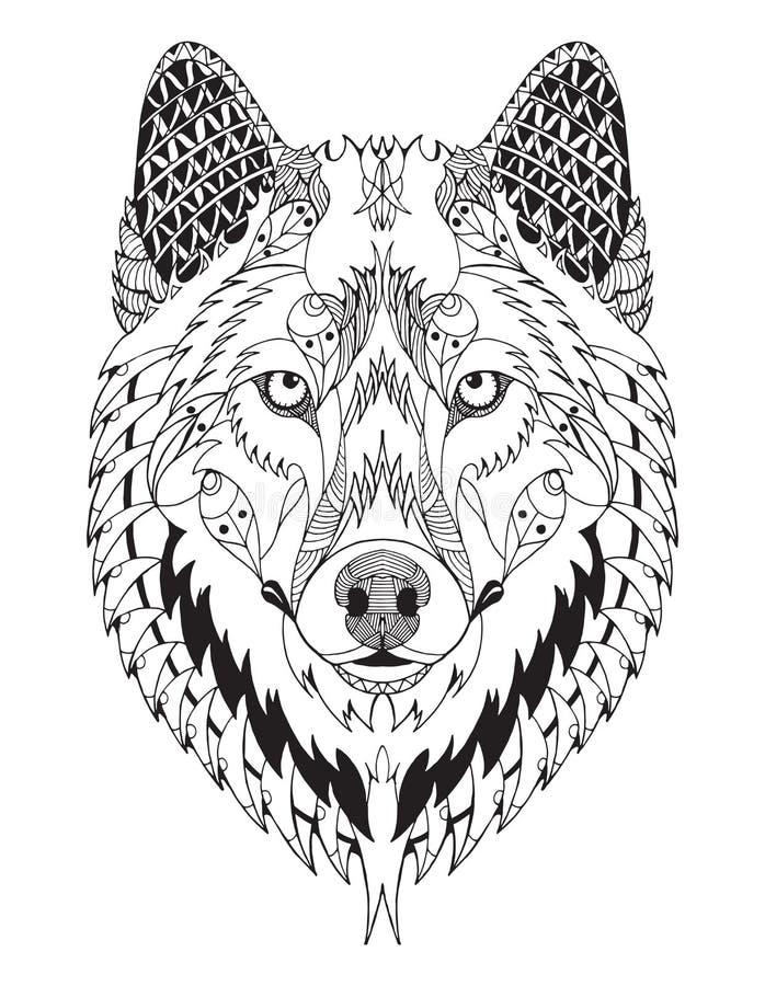 Het grijze wolfshoofd zentangle stileerde stock illustratie
