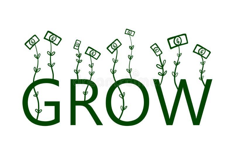 Het groeien de dollars overhandigen getrokken illustratie voor van de de presentatiebanner van bedrijfsontwerpdrukken de bloggen  vector illustratie