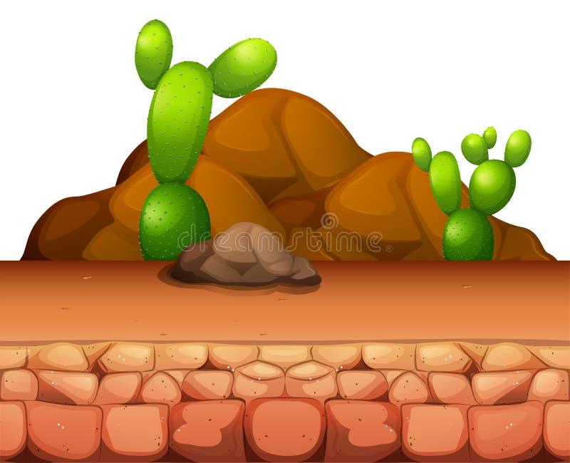 Het groeien van de cactus in de woestijn royalty-vrije illustratie